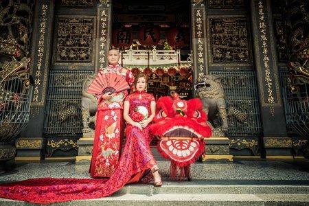 中式龍袍馬褂搭配寶藍大紅改良式旗袍