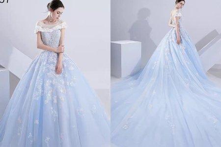 星空粉藍藍性感美背拖尾婚紗禮服