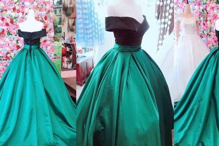 時尚翡翠綠 拼色拖尾禮服