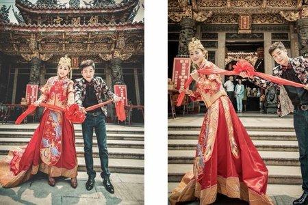 中式禮服龍袍馬掛 中式旗袍 秀禾服