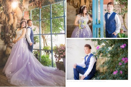 粉紫色氣質雙肩禮服 婚紗
