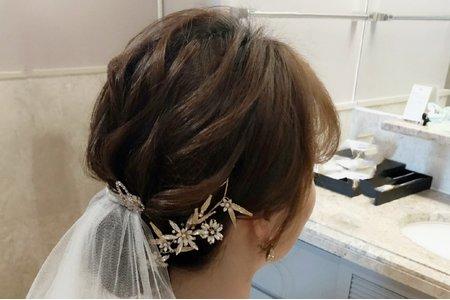 白紗低盤髮