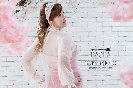 孕婦寫真作品-復古粉短裙