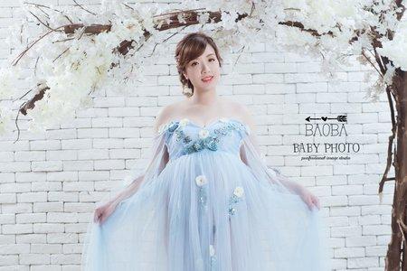 孕婦寫真作品-仙女藍紗裙