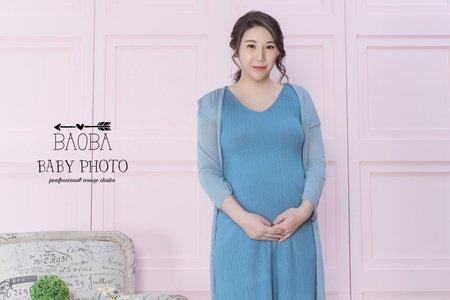 孕婦寫真作品-天藍針織裙