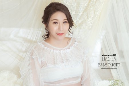 孕婦寫真作品-兩件式珍珠白套裝