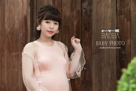 孕婦寫真作品-針織網紗裙
