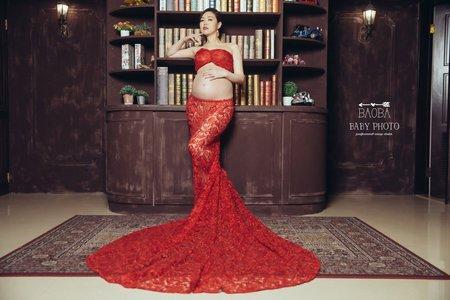孕婦寫真作品-紅色喜氣魚尾裙