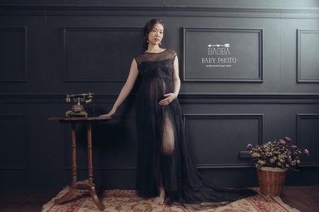孕婦寫真作品-黑色神秘連身禮服