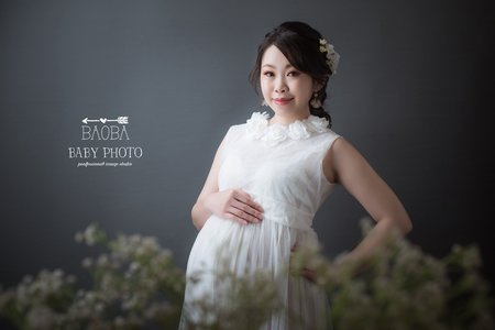 孕婦寫真作品-白色透紗仙氣禮服