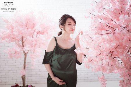 孕婦寫真作品-綠色氣質連身裙