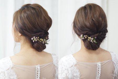 鮮花低盤髮