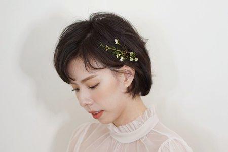 短髮鮮花造型
