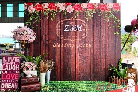 台東戶外婚禮-木紋背板設計