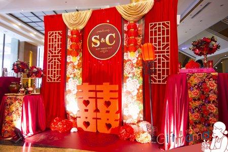 中國風布幔婚禮佈置