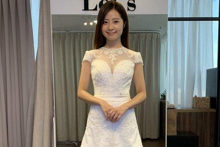 中式復古半魚尾白紗