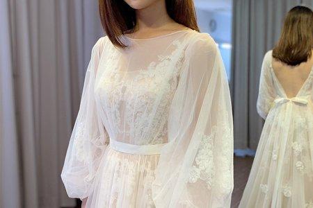兩穿式泡泡袖仙氣白紗