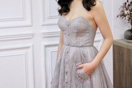 時裝款銀灰色紗裙