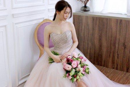手工珠鑽粉紫色紗裙