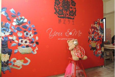 中式婚禮拍照牆租借