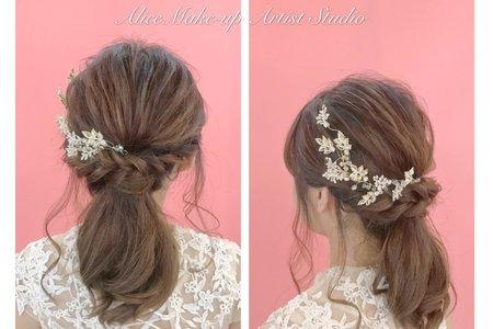 新娘妝髮作品 低馬尾+側邊髮+低盤浪漫編髮