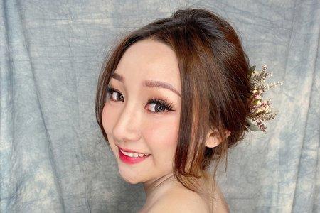 韓系光澤肌 X 浪漫低盤髮
