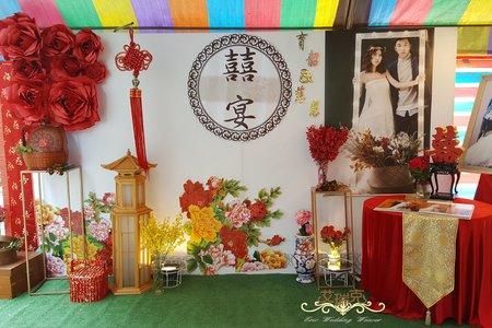 白色中國風立體紙花背板婚禮佈置優惠專案