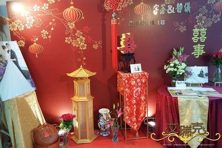 107.11.18-大紅色背板搭中國風主婚禮佈置