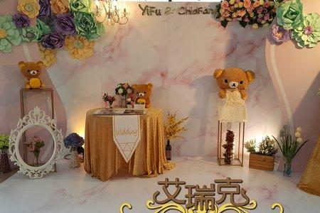 粉色大理石婚禮背板