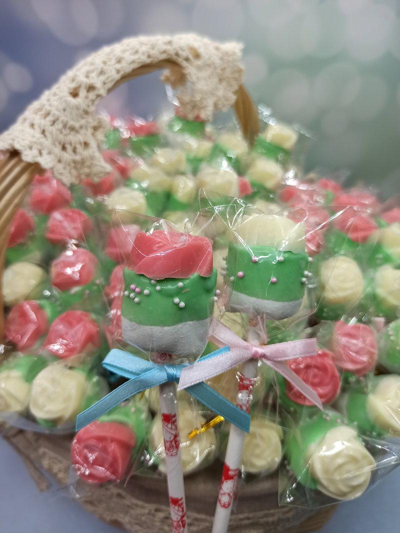 玫瑰棉花棒棒糖作品