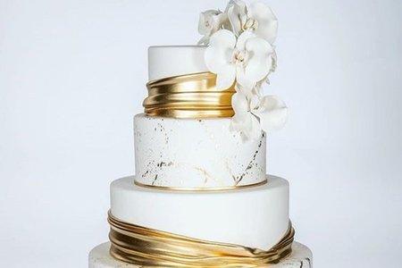 翻糖婚禮蛋糕-金色系