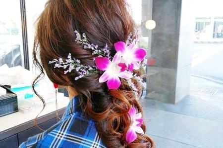 宴客單髮妝-鮮花造型