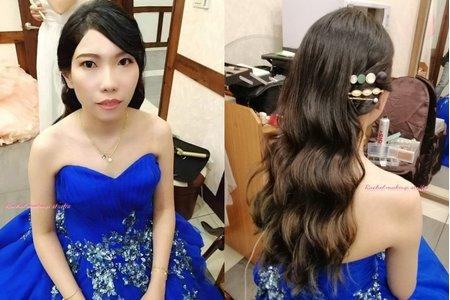 Rachel - 藍色韓式水波紋浪漫大捲