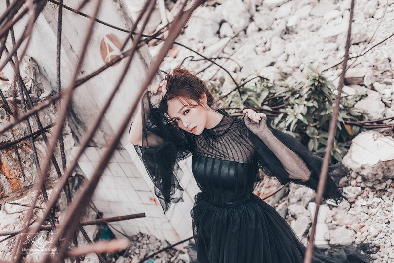 黑禮服、婚紗、妝髮、氣勢、甜美