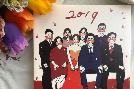 家族似顏繪無框畫