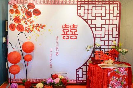 中國風布背板套餐 C2  牡丹花款
