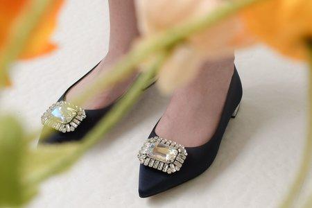 大海上的餘暉飾釦平底鞋