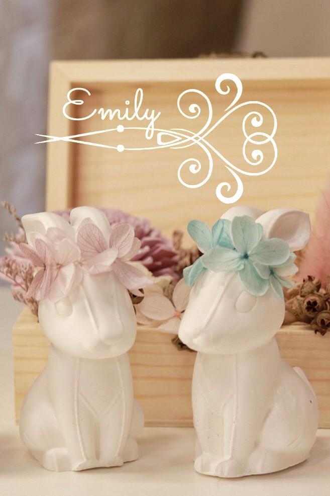 花環兔子 (粉&藍) - 唯一花坊/乾燥花/擴香石/捧花/婚禮小物《結婚吧》