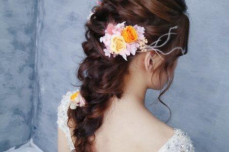 仙氣編髮低馬尾