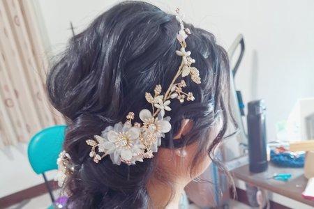 黑髮新娘 線條編髮低馬尾