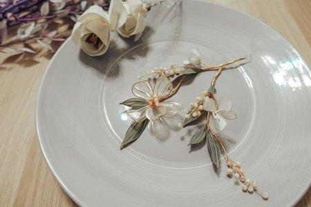 手作系列/水晶花髮式/水晶花耳環