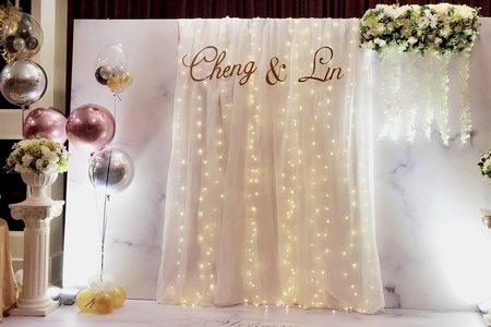 浪漫到極緻的完美~大理石背版MIX星空燈布幔