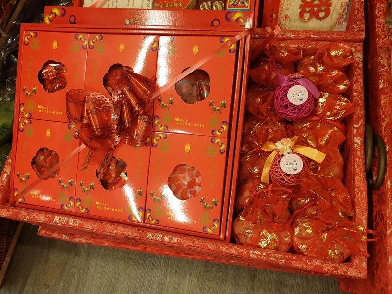 文定儀式用品.六色喜糖、喜米、木盛佈置