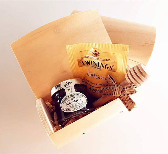 木盒+茶包+果醬+攪拌棒