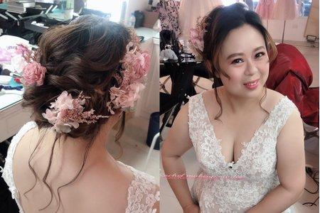 台南婕莉粉色乾燥花白紗造型