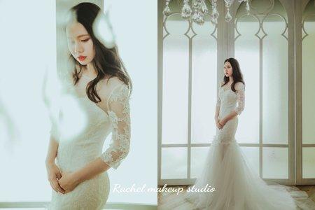 韓式白色雅致婚紗造型