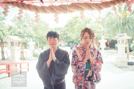 日本海外婚紗-沖繩-美式、韓系、日系、清新、時尚、個性、中式精選婚紗風格-沖繩波上宮|神社拍婚紗