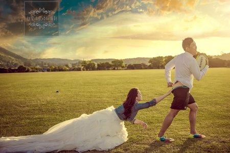 紐西蘭海外婚紗尼爾公園-橄欖球拍婚紗-美式、韓系、日系、清新、時尚、個性、中式精選婚紗風格-