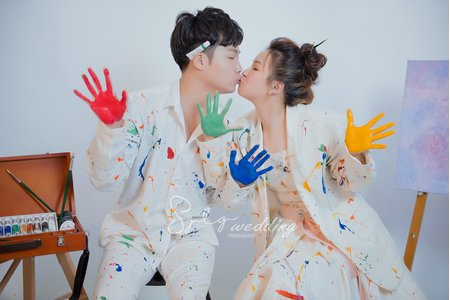 婚紗攝影精選作品|繽紛創意|韓式互動甜蜜