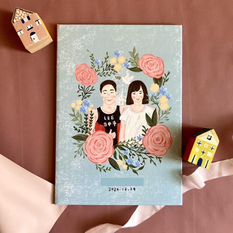 秘密花園款結婚書約夾-藍色